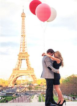 Пара в Париже, 40x50 см, aлмазная мозаика