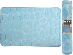 Covoras pentru baie 40X60cm Pebble albastru, microfibra