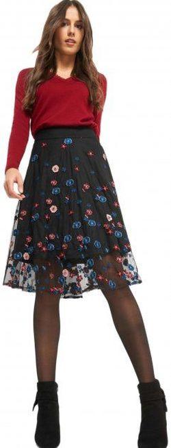 Юбка ORSAY Черный в цветочек 722186