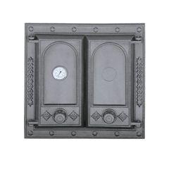 Дверца чугунная глухая двустворчатая с термометром DW8Т