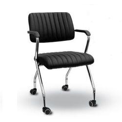 Scaun de conferință cu braț pe roţi, negru