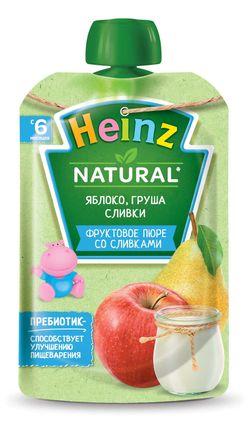Пюре HEINZ Яблоко, груша, сливки 90г (6 месяцев)