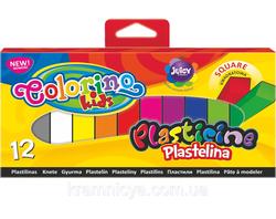 Пластилин квадратный 12 цветов Colorino