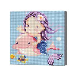 Русалочка и дельфин, 20x20 см, алмазная мозаика