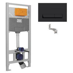 IMPRESE комплект инсталляции для унитаза 3в1 (инсталляция, крепления, клавиша черная PAN)