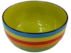 Salatiera 20cm dungi multicolore (albastra), din ceramica