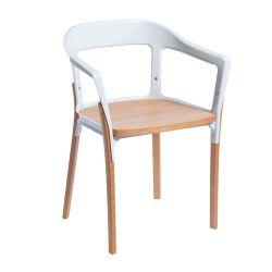Деревянный стул с белой металлической рамой, 580.5x470x440 мм
