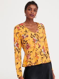 Блуза RESERVED Желтый с принтом