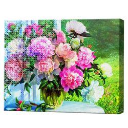 Алмазная мозаика + роспись по номерам 40х50 см Ваза с пионами на стол в саду YHDGJ71720