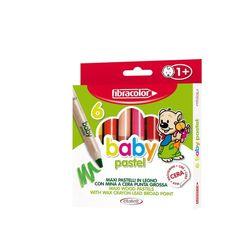 Карандаши цветные дерево+воск Fibracolor Baby Pastel 6 цветов