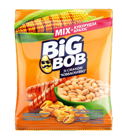Микс арахис и жареная кукуруза Big Bob со вкусом колбасок BBQ (60г)