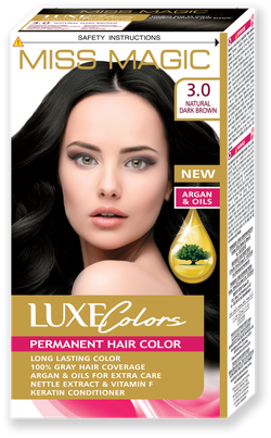 Vopsea p/u păr, SOLVEX Miss Magic Luxe Colors, 108 ml., 3.0 - Castaniu natural închis