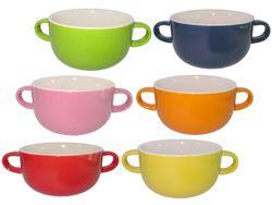 Cana pentru supa 450ml cu doua manere, D16.5cm,multicolor
