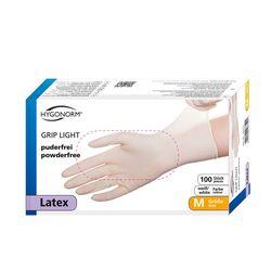 Перчатки LATEX GRIP LIGHT, размер M, БЕЛЫЕ, 100шт, HYGONORM, FM