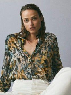 Блуза Massimo Dutti Цветной принт 5167/857/518