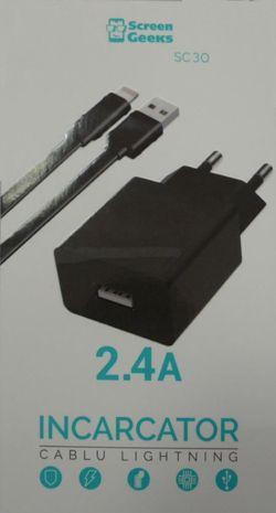 купить Зарядное устройство сетевое Screen Geeks USB 2,4A cu cablu lightning 10 Watt, negru (SC-30) в Кишинёве