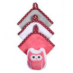 Набор из 3 полотенец и мочалки Babyono красный
