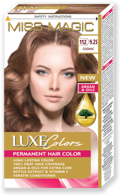 Vopsea p/u păr, SOLVEX Miss Magic Luxe Colors, 108 ml., 112 (9.25) - Cognac