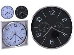 Часы настенные круглые D30cmH4cm с термометром и гигрометром