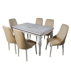 Белый столовый гарнитур DT A20 + 6 стульев DC A13 цвета слоновой кости