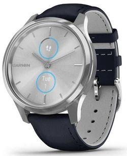 купить Фитнес-трекер Garmin vivomove Luxe, S/E EU, Silver, Navy, Leather в Кишинёве