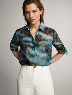 Блуза Massimo Dutti Серо -голубой 5127/830/920