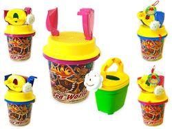 Набор игрушек для песка в ведерке с рисунком 5ед, 35X18cm