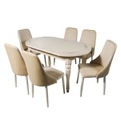 Комплект раздвижных столов DT A14 слоновая кость + 6 сидений DC A13 слоновая кость