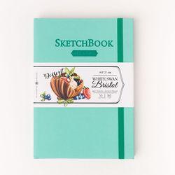 Скетчбук Малевичъ для графики и маркеров Bristol Touch, мятный, 180 гм, А5 см, 50л