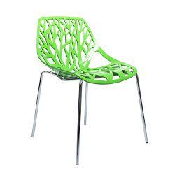 Пластиковый стул с хромированными ножками, спинка перфорированная 570x530x800 мм, зеленый