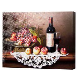Алмазная мозаика + роспись по номерам 40x50 см Статическая природа с фруктами и вином YHDGJ72003