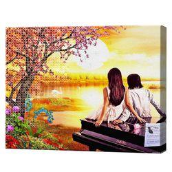 Пара у озера на закате, 40x50 см, комбо-набор для росписи номеров + алмазная мозаика, YHDGJ75170