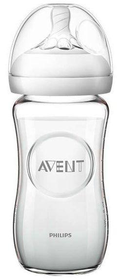 Biberon din sticla Philips AVENT Natural 240 ml cu tetina din silicon (1+ luni)