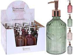Dozator pentru sapun lichid Romance 450ml H21cm, D8.3cm, sticla 4 culori
