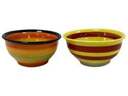 Салатница 14cm разноцветные полоски, керамика