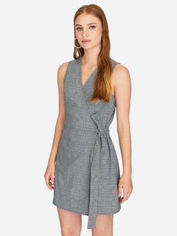 Платье Stradivarius Серый в клетку 6354/491/250