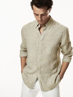 Рубашка Massimo Dutti Зеленый/Серый 0144/144/500