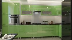 Bucătărie Bafimob Corner (High Gloss) 4.1x0.9m Eco +ball closer Green