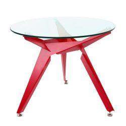 Masă rotundă cu suprafaţă din sticlă şi picior din metal 900x740 mm, roşu