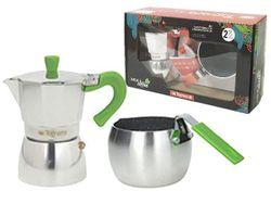 Набор кофеварка на 3 чашки и ковш для молока Grancuci