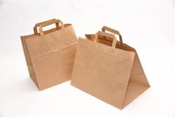 Бумажные крафт пакеты с плоскими ручками 26*17*31