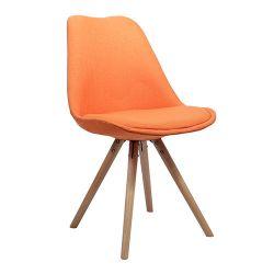 Scaun din plastic tapitat cu şezut din buretă si picioare din lemn, orange