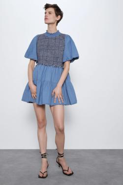 Платье ZARA Джинс/Синий 7484/069/406
