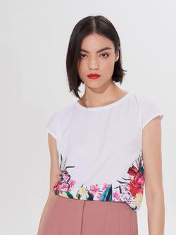 Блуза MOHITO Белый с цветами yn886-00m