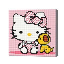Хелоу-Китти с щенком, 20x20 см, алмазная мозаика