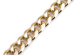 Bag / purse metal chain, width 14 mm, flat, 120 cm / gold