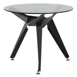 Masă rotundă cu suprafaţă din sticla şi picior din metal 900x740 mm, negru