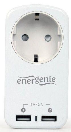 cumpără Încărcător cu fir Gembird Incarcator de retea EG-ACU2-01-W, 2-port USB charger with pass-through AC socket, 2.1 A (alb) în Chișinău