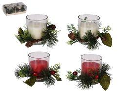 Набор подсвечников со свечей и шишками 2 ед, 5X5сm, стекло
