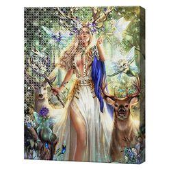 Лесная королева, 40x50 см, комбо-набор роспись по номерам + алмазная мозаика, YHDGJ73656